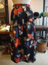 ヨーロッパ古着 茶xオレンジxカーキxターコイズブルーxチェックx 花柄ニットCHACOKスカート  4,900円(税抜・送料込