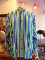 ヨーロッパ古着 Christian Dior グリーンxブルーxホワイトxネイビーストライプブラウス  5,900円(税抜・送料込)  http://www.fripe.jp/item/2-250-356/