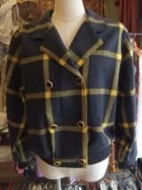 ヨーロッパ古着グレー×黄チェック柄×レトロボタンがかわいい・リブ付 GERAD PASQUIERジャケット  7,900円(税抜・送料込)