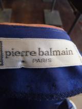 PIERRE BALMAINダークブルーx光沢x リーフ柄フロントプリーツデザインラップスカートのワンピース  12,800円(税抜・送料込み)