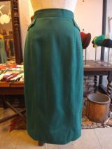 ヨーロッパ古着グリーン×ウエストポケット風デザインタイトスカート 5,900円(税抜・送料込)