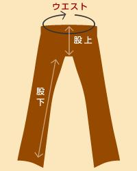 サイズの表記:ジーンズ・パンツ etc