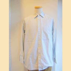 ヨーロッパ古着白×青系ストライプPierre Cardainシャツ
